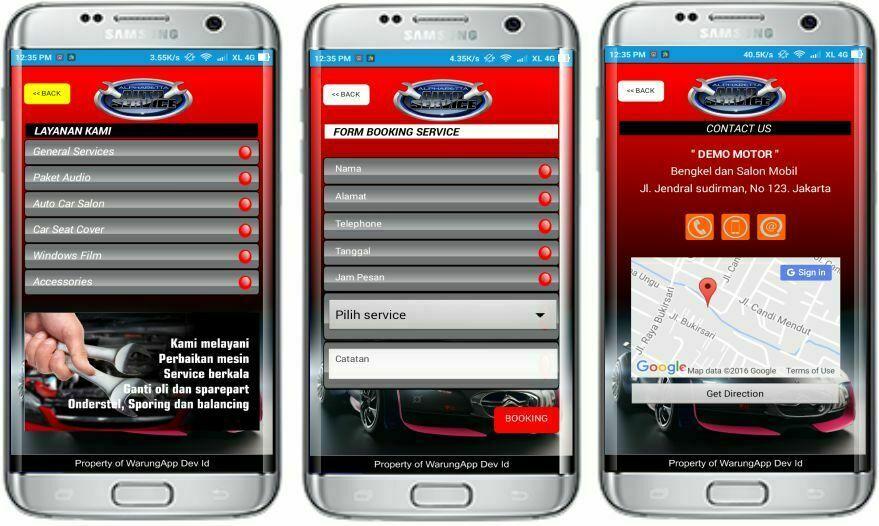 Jasa Pembuatan aplikasi booking service untuk bengkel mobil dan motor
