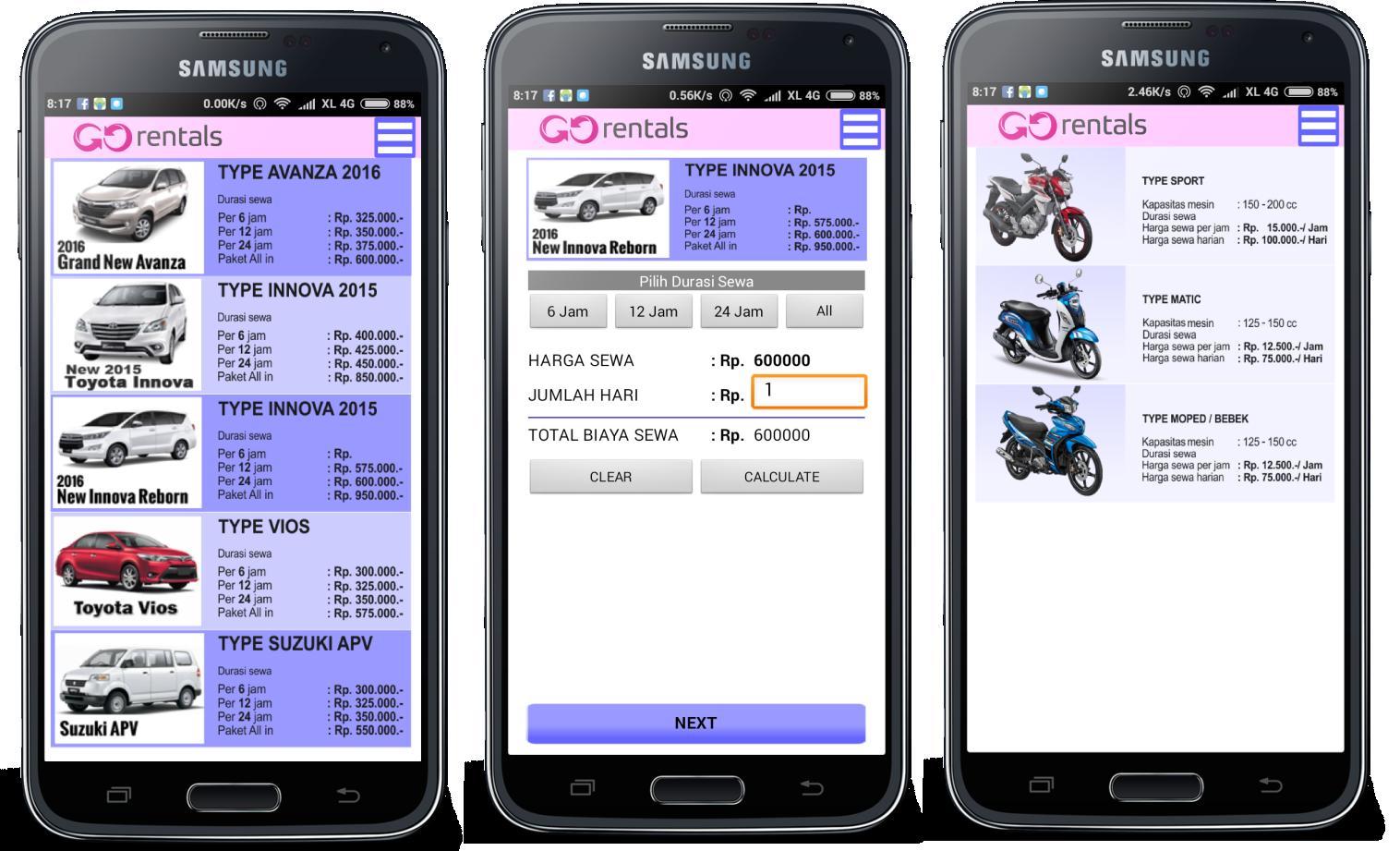 Jasa pembuatan aplikasi rental mobil & motor